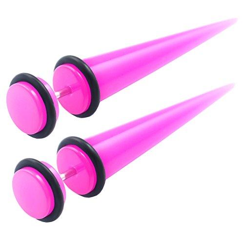 1 paar Unisex Fake Plug Taper dehnstäbe 1,2mm Rosa Acryl Ohrstecker Ear expender Schwarz O-Ringe HAGN