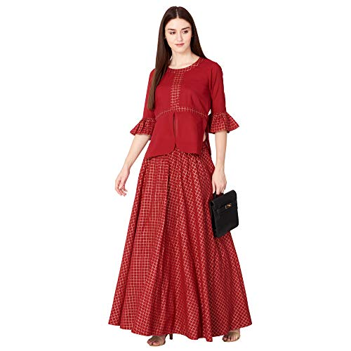Khushal K Womens Rayon Top With Long Skirt Set