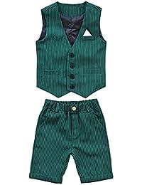 LaoZanA Conjunto Ropa Niños Chicos Sin Mangas Chalecos Y Pantalones Cortos Verde