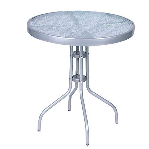 Mojawo® Bistrotisch Glas/Metall Rund Ø 60 H70cm Silberfarben Balkontisch Gartentisch Glastisch