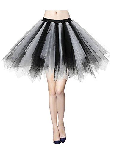 Gardenwed Tutu Damenrock Tüllrock Reifrock 50S Kurz Ballet Tanzkleid tütü Unterrock Rockabilly Petticoat für Karneval Partykleid Black-White M