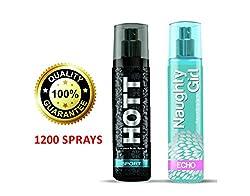 Hott SPORT & Naughty Girl ECHO Perfume Combo For Couple (1200 Sprays Each)