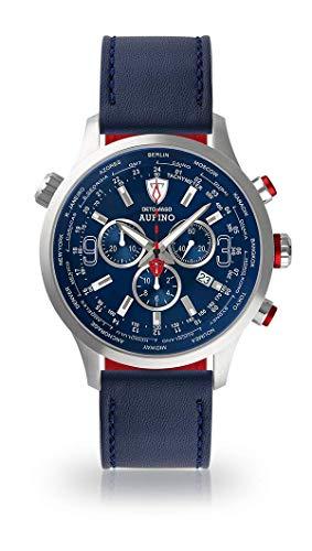 DETOMASO AURINO Herren-Armbanduhr Chronograph Analog Quarz Silbernes Edelstahl-Gehäuse Blaues Zifferblatt (Leder - Blau)