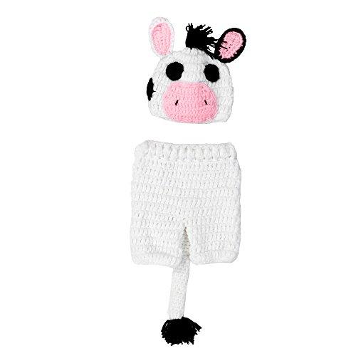 H.eternal Gestrickt Beanie Kopfbedeckung Hüte Keuchen Neugeborene Junge mädchen Cartoon kleine Kuh Foto Kostüm Fotografie Prop Geburtstag (Weiß)