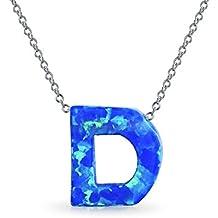 Bling Jewelry Ópalo Azul sintético 925 plata Collar Colgante letra D