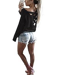 ISASSY Damen Oberteile Sexy T Shirt rückenfreies Oberteil Tops Shirt langarmshirt