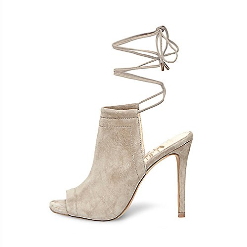 Apenas Senhoras Fabricante Peep-toes Tira No Tornozelo Sandálias Estilete Baender Cinza Claro