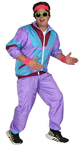 Foxxeo 80er Jahre Kostüm für Herren Trainingsanzug Fasching Karneval Motto-Party, Größe:L (80er Jahre Motto Kostüm Herren)