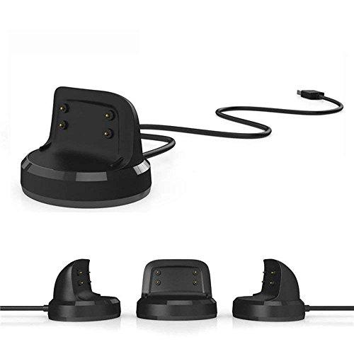 Sikai Dockingstation Ladestation für Samsung Gear Fit 2 SM-R360 Smartwatch Ersatzkabel USB Ladekabel Ersatz Ladegerät Cradle Dock für Samsung Gear Fit 2 Pro SM-R365 Zubehör (Schwarz) - Dock-cradle