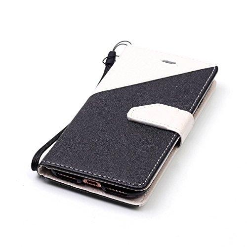 iPhone 7Case, Case First due colori design PU pelle portafoglio Case Cover Flip Cover con Cinturino da Polso e Card Slot per iPhone 7 Bianco + nero