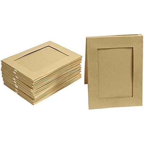 CurtzyTM Set de 10 6 x 4 Marcos de Foto de Doble Lado Plano de Cartón para Manualidades Decoupage