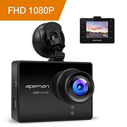 APEMAN Dash Cam Auto Telecamera Auto 1080P Full HD Obiettivo Notte Visione di 170 gradi Rilevamento del Movimento G-Sensor(Nero)