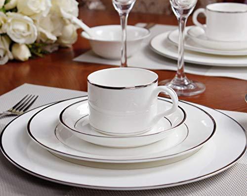 Kaffeetasse Set Kombination Bone China Geschirr Pure White Restaurant Gold Und Silber Trim Flache Platte Steak Dish Keramik Kaffeetasse Dessertteller Bone China Gold Trim