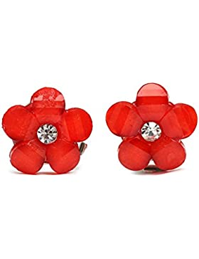 Idin Ohrclips - Rote Blumen mit Strassstein (ca. 14 x 14 mm)