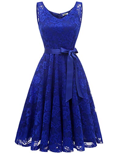 Aonour AR8008 Damen Floral Spitze Brautjungfern Party Kleid Knielang V Neck Cocktailkleid Royal-Blau XL