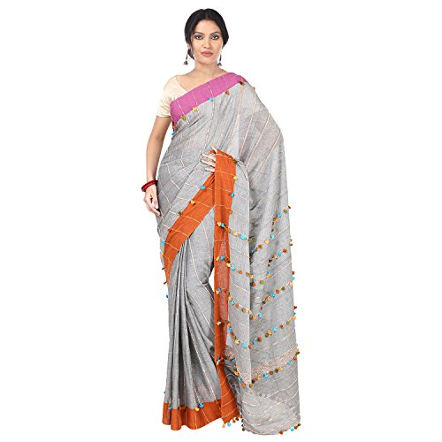 The Weave Traveller Women's Khadi Saree With Blouse Piece (Twt_Khadi_Gry_142, Grey, Free...