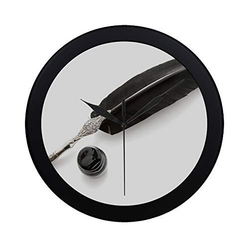 WOCNEMP Moderne einfache Feder-Feder-und Tinten-Wanduhr-Innenauslauf-Bewegungs-Wand Clcok für Büro, Badezimmer, Wohnzimmer dekorativer 9.65 Zoll -