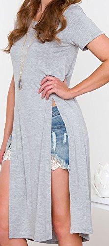 erdbeerloft - Damen Fashion Longshirt mit Einschnitten, 34-42, Viele Farben Grau
