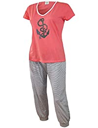 Damen Schlafanzug kurz Capri Hose 3/4 Damen Pyjama kurz Damen Nachthemd kurz aus 100% Baumwolle softweich Gr. S M L XL