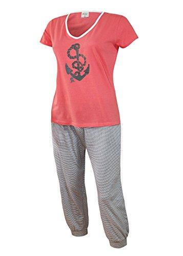 Baumwoll-capri-pyjama-hose (Damen Schlafanzug kurz Capri Hose 3/4 Damen Pyjama kurz Damen Nachthemd kurz aus 100% Baumwolle softweich Gr. S M L XL (M/40-42,oberteil hummer mit Motivdruck / short 3/4 capri weiss-grau))
