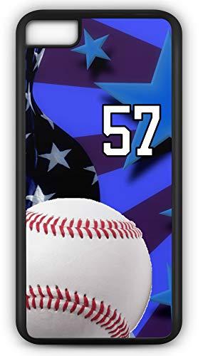 TYD Designs Schutzhülle für iPhone 8 Plus 8+, Baseball B020Z, mit Wunschnamen oder Nummer, aus schwarzem Kunststoff und schwarzem Gummi, mit Team Jersey Nummer nach Wahl, Black, Number 57 -