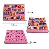 VICKY-HOHO 3 stück Nummer 0-9 Buchstaben silikagelform Kuchen dekorieren Tools DIY silikonform (Pink)