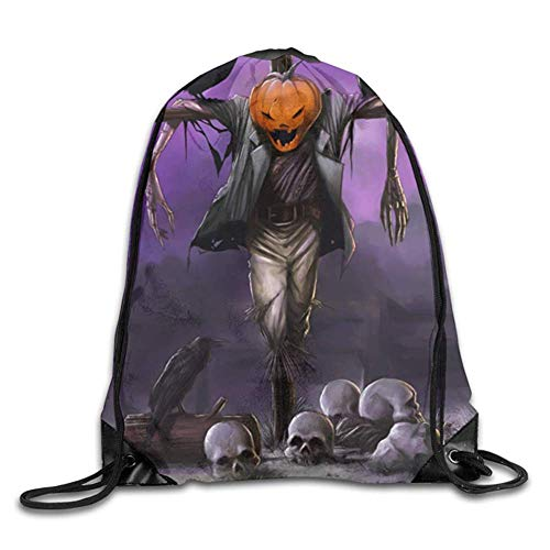 Halloween Scarecrow Black Crow Raven Pumpkin Gym Sport Bag Drawstring Bag Backpack Draw Cord Bag Men Women Gym Sport Yoga Dance Travel ()