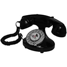 OPIS FunkyFon cable: Teléfono con disco de marcar en el estilo sinuoso de la década de 1920, con un timbre electrónico moderno (negro)