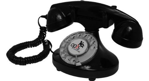 OPIS FunkyFon cable: Teléfono telefono fijo retro con disco de marcar
