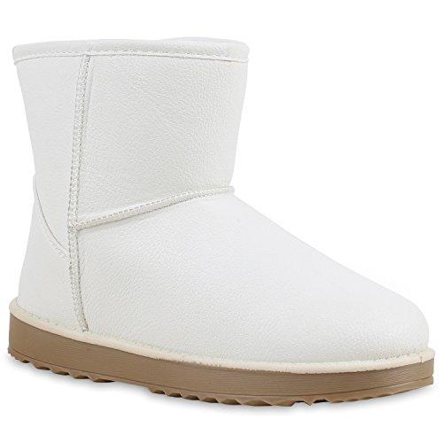 Damen Stiefeletten Stiefel Kunstfell Schlupfstiefel Boots Weiß