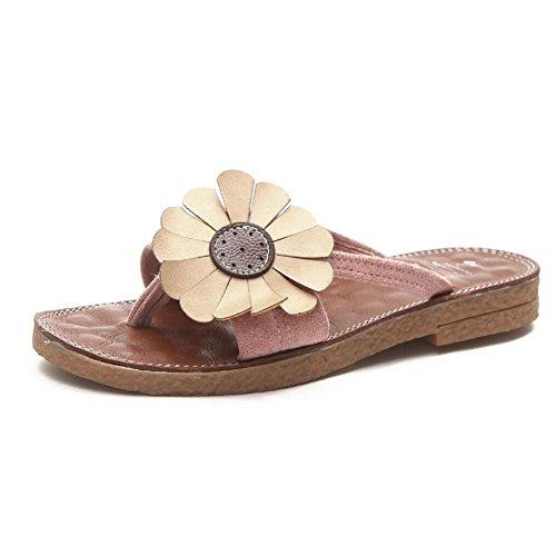 Sandales pour femmes été nouveau confortable Slipper Clips Toe sandales simples chaussures de plage noir vert jaune rose GAOLIXIA ( Color : Rose , Taille : 38 )