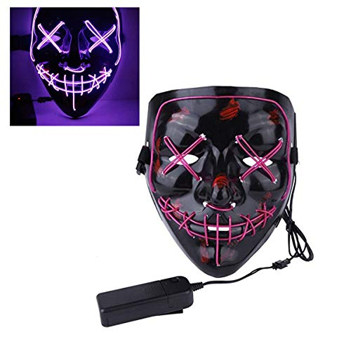 EisEyen Halloween Maske LED Light EL Wire Cosplay Maske Purge Mask für Festival Cosplay Halloween Kostüm (Violett)