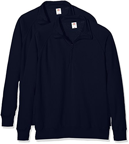 Fruit of the Loom Herren Sweatshirt Lightweight Zip Neck Sweat Blau (Deep Navy 202)
