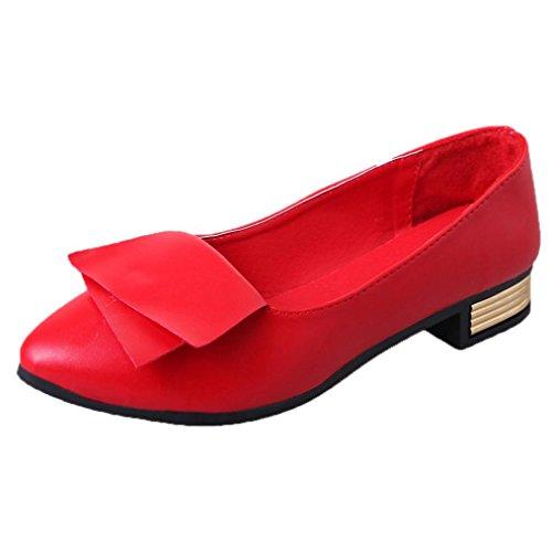 UFACE FrüHling und Sommer Zeigte Flache Mundschuhe Arbeitsschuhe Frauen BüRo Schuhe Pumps Hochzeit Dame Kleid Spitze Beleg (38, Rot)