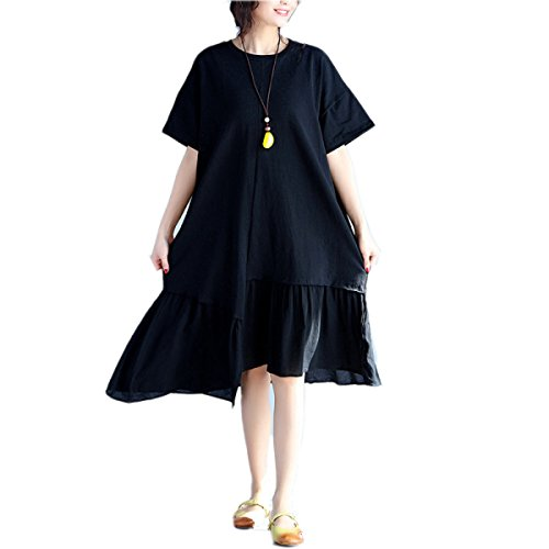 HGDR Frühling Und Großes Lose Art Und Weise Kleid Der Sommerfrauen Black