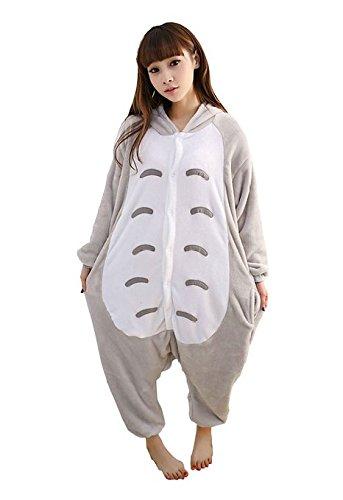 Damen Herren Unisex Erwachsene Fleece Tier Einteiler Neuheit Schlafanzug Nachtwäsche Kostüme Halloween Gr. Medium, Totoro (Halloween Tiere)