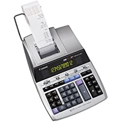 Canon MP1211-LTSC Calculatrice de bureau avec Imprimante à ruban encreur 12 chiffres Ecran rétro-éclairé 2 couleurs Fonction Taxe / Business Finition métal argenté