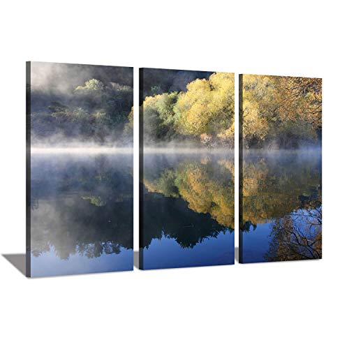 Hardy Gallery Landschaftsreflexe Naturbilder Gemälde: Dawn Forest Trees Reflected on Lake Fotodruck auf Leinwand Set 3-teilig (Gelb Artwork Canvas)