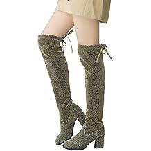 OSYARD Damen Pailletten Langschaftstiefel Schnürstiefelett Winter Boots  Boho Frauen Lace-Up Round Toe Hohe Stiefel 92c09c7228