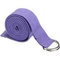 MOIMK Cinturón De Yoga con Cinturón 100% Algodón con Anillo Metálico - Cerrado, Morado