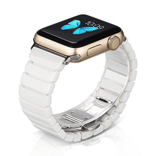 NotoCity Kompatibel Apple Watch Armband 38mm 42mm 40mm 44mm, hochwertigen Keramik Ersatz Uhrenarmbänder für Apple Watch Series 5, Series 4, Series 3, Series 2, Series 1 (Weiss, 42/44mm)