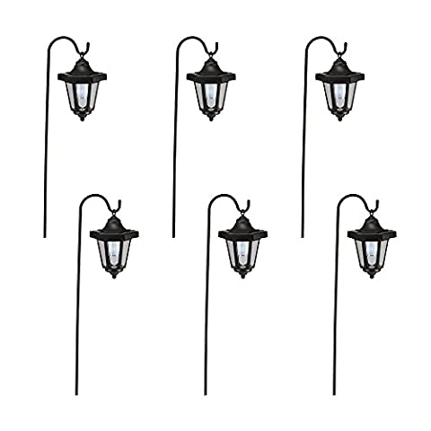 Set of Two Hanging Coach Lanterns Solar Lights for Outdoor