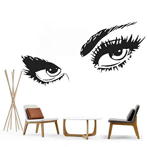 fenshop Vinyl Wandtattoo Womens Eyes Silhouette Teens Gesicht Art Decor DIY Removable Home Aufkleber Schlafzimmer Home Deco 56x112cm
