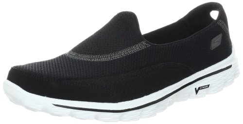 Skechers GO Walk 2, Sneaker Donna, Nero (Black/White), 37 EU
