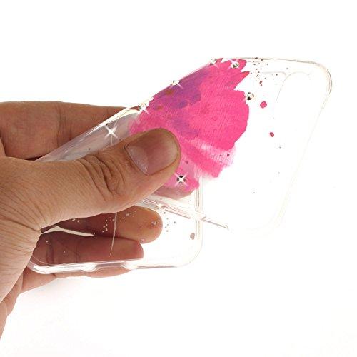 iPhone 8Plus Hülle, Glitzer-Strass CLTPY iPhone 7Plus Handytasche Transparent Ultradünne Silikon Back Cover mit Blumen Malerei Muster für Apple iPhone 7Plus/8Plus + 1 X Stift - Schwarze Blume Rose