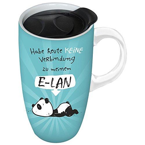 Hope und Gloria 45674 Kaffee-Becher mit Panda-Motiv E-LAN, Steingut-Tasse, mit Kunststoff-Deckel, 52 cl