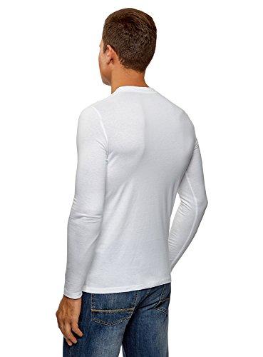 oodji Ultra Herren Tagless Henley-T-Shirt Aus Baumwolle Weiß (1000N)
