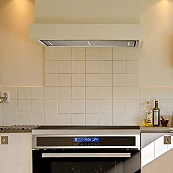 Ceiling-mounted extractor hood, Fan Module (90cm, stainless steel, 4 steps, black glass, LED lighting, SensorTouch control, exhaust air or circulating air) INTEGRA606 - KKT KOLBE
