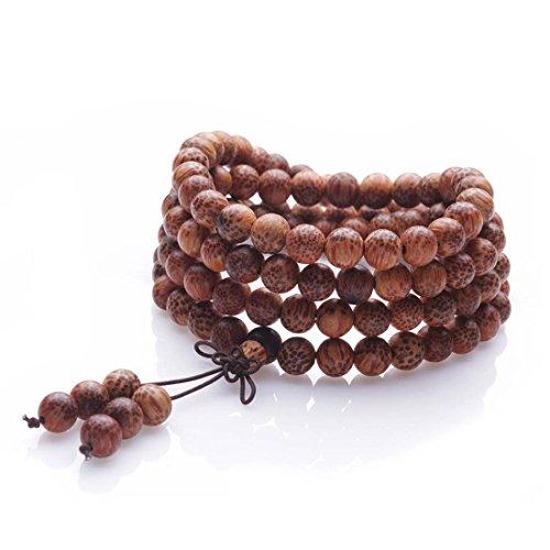 8mm 108 Holz Mala Halskette Sandelholz Gebetskette buddhistischen tibetischen Meditation Handgelenk elastische Armband für Männer Frauen Unisex