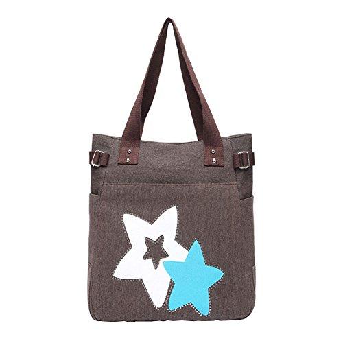 VRIKOO Women's Fashion Casual Canvas Handbag Portable Shopping Tote Shoulder Bags Kaffee